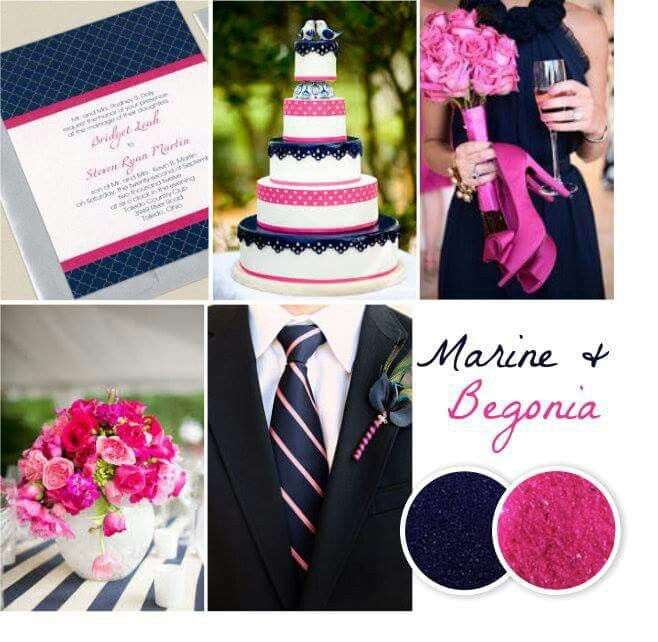 Marine and begonia wedding colors
