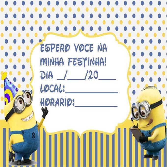 Convite de aniversário dos Minions continue vendo...