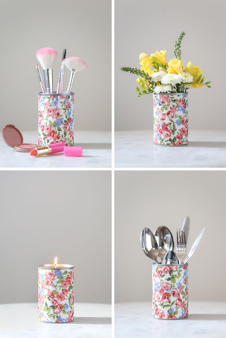 Tin cans for crafts - For The Makers How To Make Fabric Wrapped Tin Cans