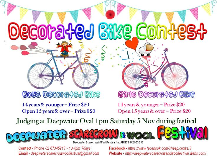 2016 - new event - Decorated Bike Contest - entry forms available on website - entry is Free http://deepwaterscarecrowandwoolfestival.webs.com/