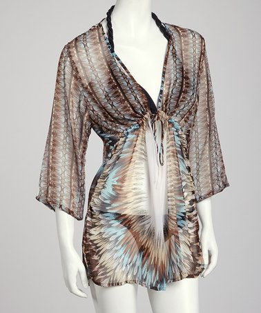 Brown Amp White Feather Drawstring Tunic Cover Up By In Gear