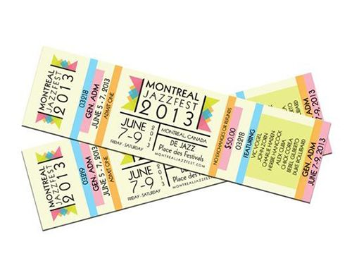 Colourful Montreal Jazzfest ticket design