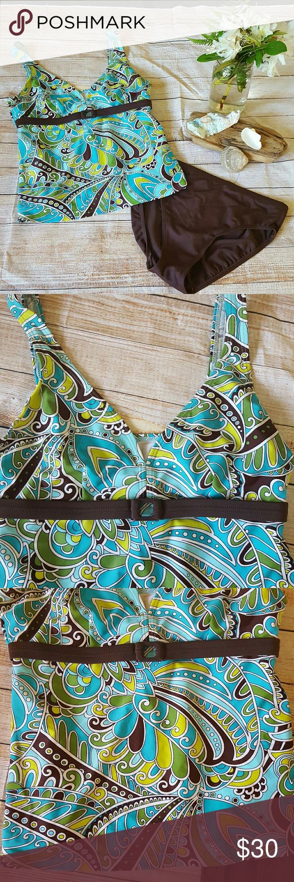 Tropical Honey Womens Tankini Swimsuit Size 12i Tropical Honey Womens Tankini Swimsuit - Bathing Suit; Top & Bottoms; Turquoise Blue and Brown. Size 12. Gently used condition. Tags have been cut out of the bottoms. Please see photos for details. tropical honey Swim