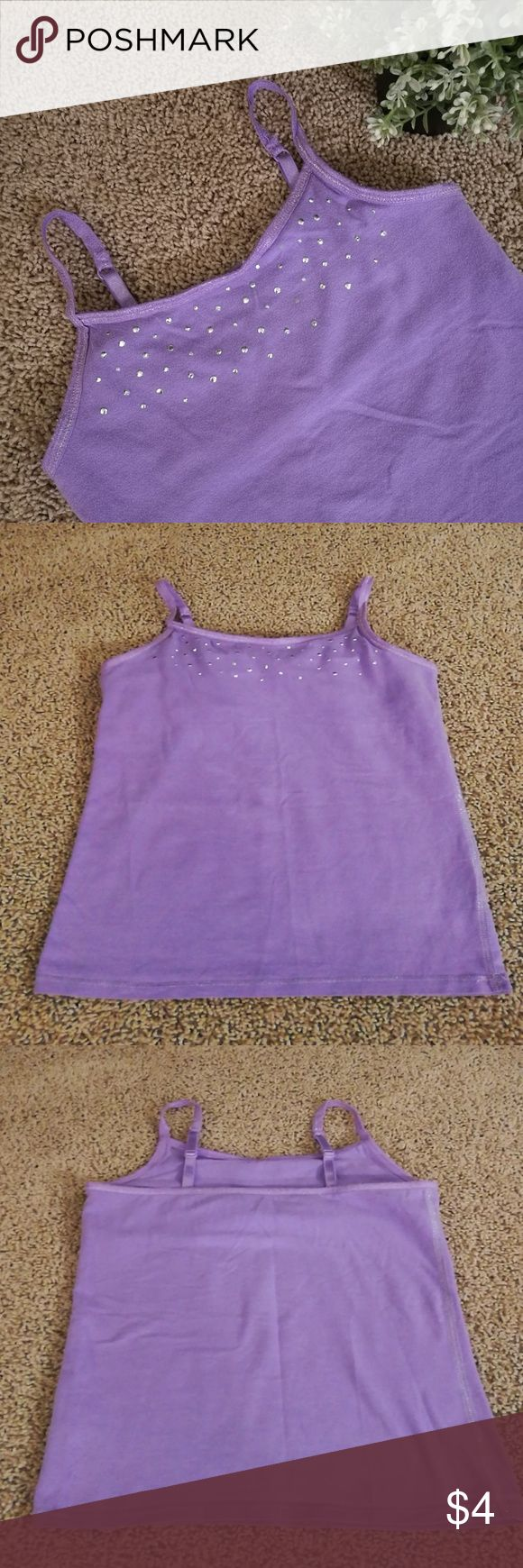 SO Kohl's Cami Embellished girls purple Cami. Pre-loved, gently worn, still has life! Built-in shelf bra, adjustable straps. Smoke and pet-free home. SO Shirts & Tops Camisoles