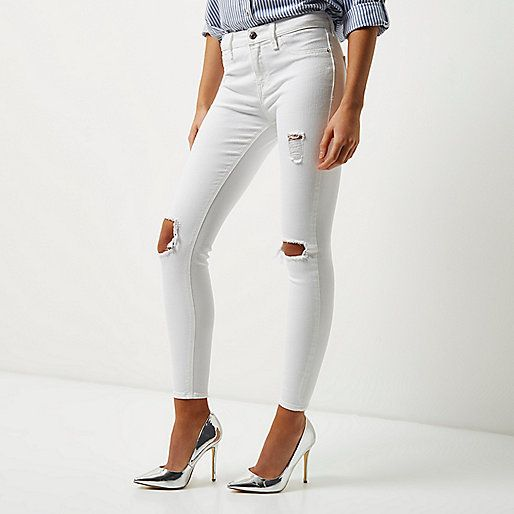White Amelie super skinny ripped jeans - skinny jeans - jeans - women