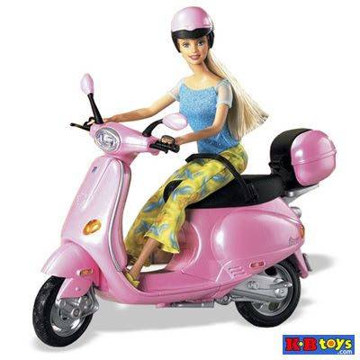 Barbie Riding Pink Vespa wearing Pink Helmet - Barbie Doll Website Wallpaper Cake Princess House Images Body Girl PIcs Photos