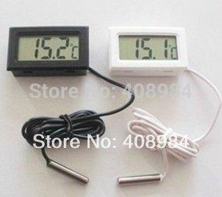 10pcs Thermometer Fridge Digital LCD Probe Freezer Thermograph for Refrigerator 110C ( Black / White )  40% off