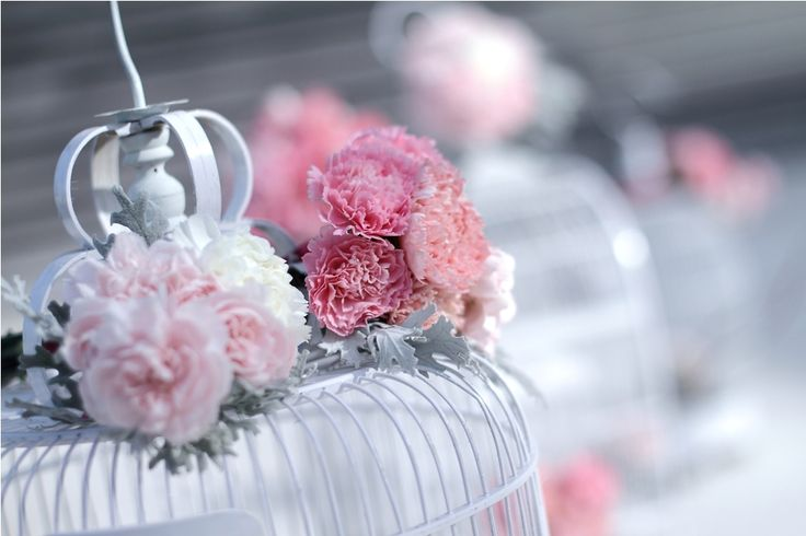 Bird cage with pink palette Carnation and Dusty Miller by Tirtha Bridal Uluwatu Bali