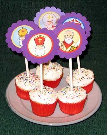 St. Nicholas Cupcake Toppers - a treat for December 5th when we hang our stockings & put out carrots