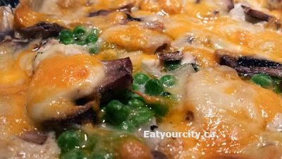 Lazy loaded stuffed potato casserole with cheese, bacon, mushrooms, veges.. anything you want! #CDNcheese #simplepleasures