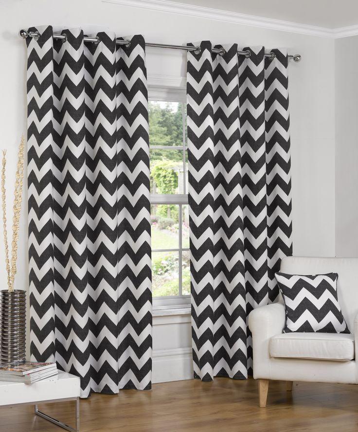 Normandy Chevron Lined Eyelet Curtains - Black — Matalan Direct