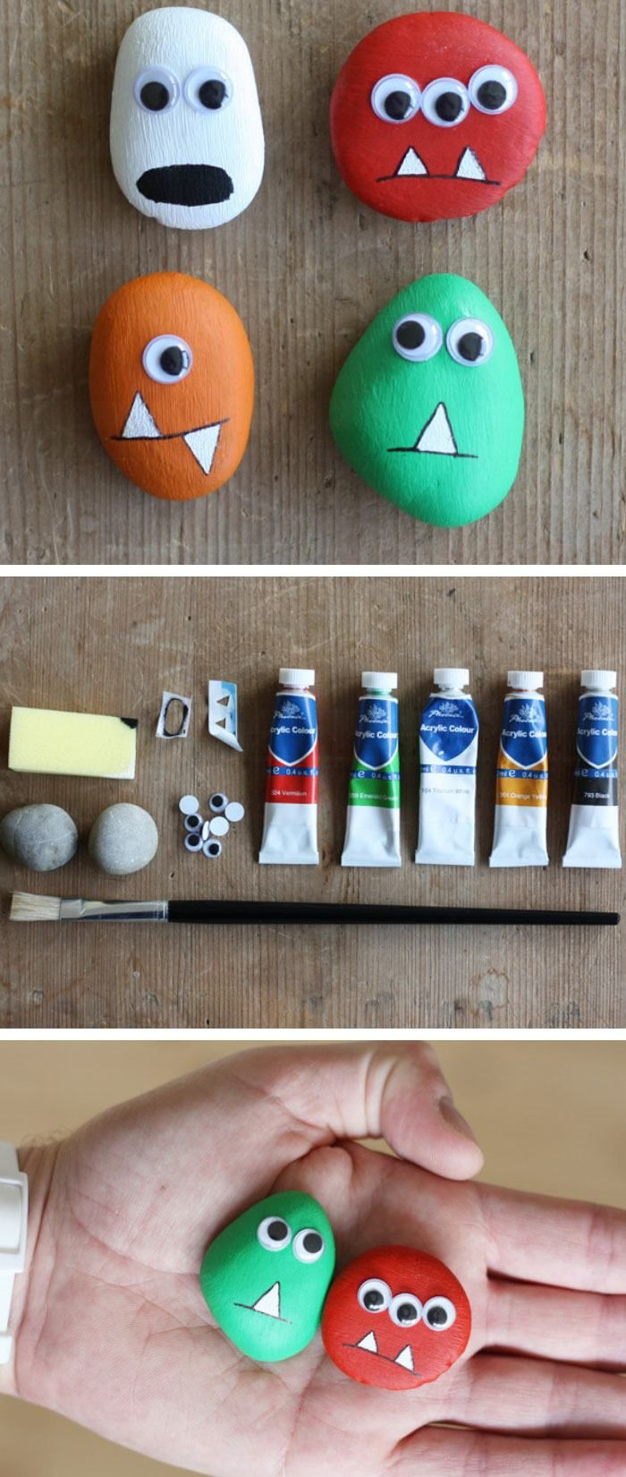 Pebble Monsters | Click Pic for 20 DIY Halloween Decorations for Kids to Make | Cheap and Easy Halloween Decorations on a Budget