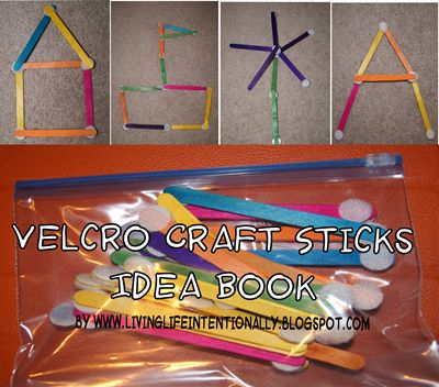 Free Printable for a Velcro Craft Sticks Idea Book. I need to make these ASAP.  They serve so many purposes!