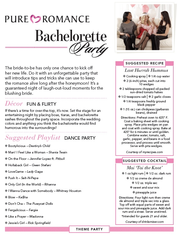 Pure Romance bachelorette party theme ideas and many more themed party ideas! message me and lets book it!Book your Pure Romance party with me @ www.pureromance.com/angelinasilvio