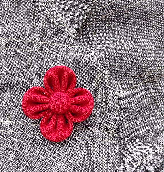 Red Boutonniere Mens Lapel Pin Flower Lapel Pin Red Lapel