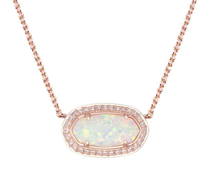 Kendra Scott Eloise Pendant Necklace in White Kyocera Opal & Rose Gold