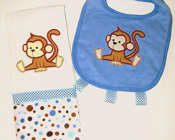 Burp cloths bibs 40 pinterest personalized baby boy burp cloth and bib set by lovablekreations 1999 monkey burp cloth and negle Images
