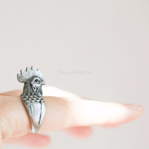 Rooster Ring in gold or silver, Chicken Ring, Rooster jewelry, detailed animal ring, bird jewelry