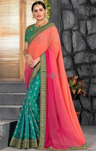 Be Satisfied With Buying This Trendiest Pair Of Green Blouse & Green Pink Saree. This Jacquard Sari Has Short Sleeves & Scoop Neck That is Beautifying It. http://www.designersandyou.com/saree-blouse/half-saree-blouse #DesignersAndYou #Designs #Simple #Traditional #Patterns #Simple #Cheap #LowPrice #SouthIndian #Ceremony #Silk #Georgette #Half Saree #Half Sarees #Function #Embroidery #Colors #Combination #ForWomens #ForLadies #Designer #Heavy #Best #Party #ForParty #PartyWear