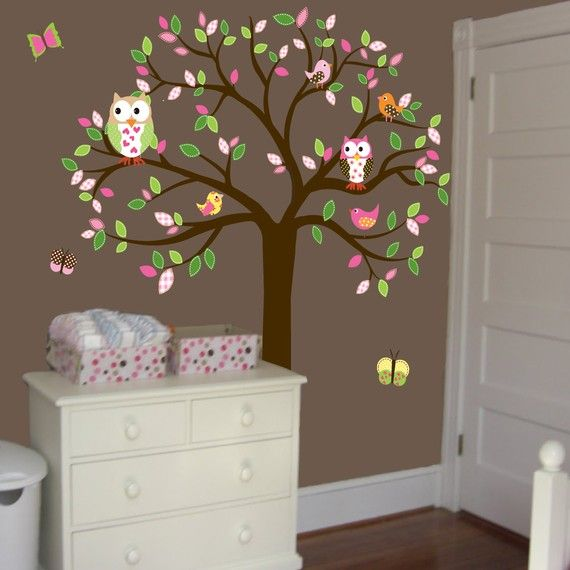Love the trees with colorful leaves to add color to a nursery.