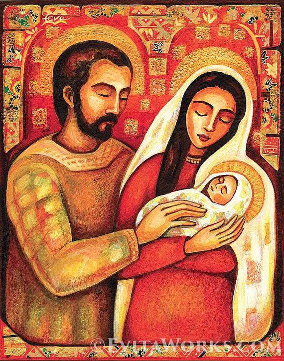 xilografia: Sacra famiglia cristiana religiosa arte di EvitaWorks