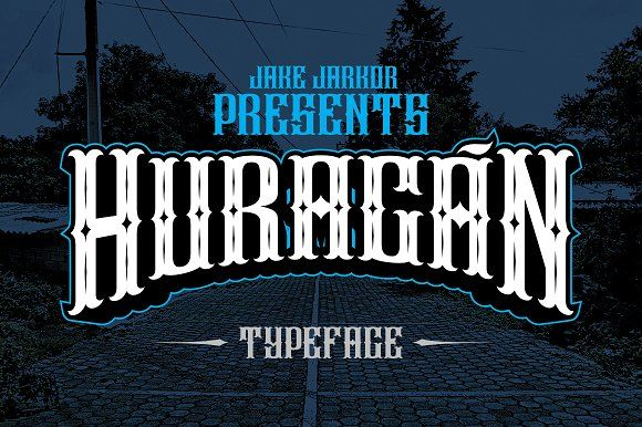 Jake Jarkor Presents: HURACÁN  is a typeface inspired in tattoo letters, vintage signs and street art. It works well with normal size text, but it works even better for large displays, short words, or even just to incorporate a few or single characters in a design. Suitable for many creative products & tattoo designs, like posters, t-shirt, street wear, logo, signage, headlines, etc.