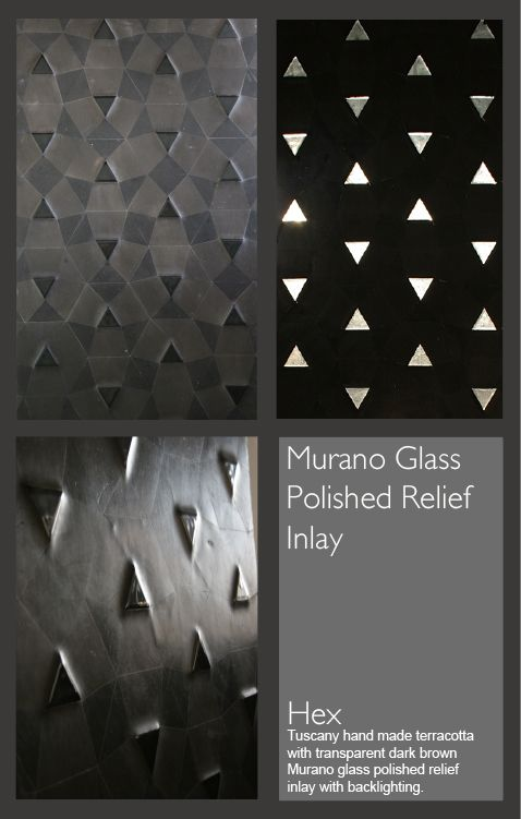 <p>Triangles pattern on BlackGrey HandmadeTerracotta with Dark Grey Murano Glass.</p>  <p>The Grey Murano Glass become white when backlight.</p>