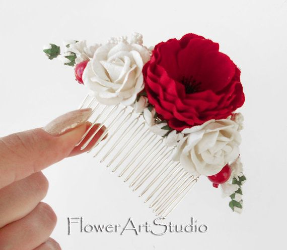Red and White Flower Comb Cottage Shic Bridal by Flowerartstudio