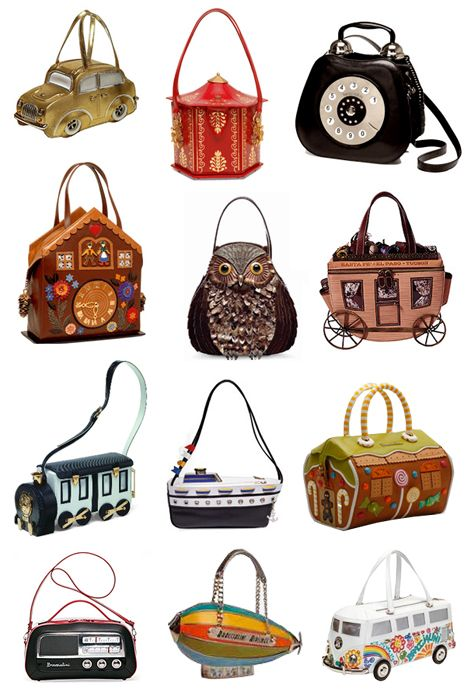 These eccentric bags were created by italian designer Carla Braccialini whose motto is 'To create handbags as an absolute beauty concept without fear of daring, to be exclusive and bring to women the desire to play with fashion, escape banality.'    Even if they might be a bit too quirky and not exactly practical, they are definitely very unique and interesting pieces to look at.