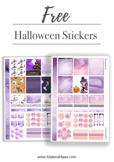 Free Halloween Stickers - For Mini Happy Planner or Personal Sized Planner - Purple, Witchy Printable Stickers For Download -  www.MalenaHaas.com
