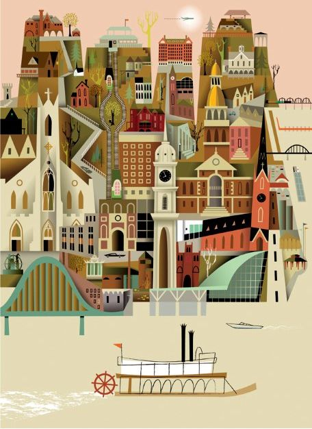 City: Art Illustrations, Digital Illustration, Paper Town, Kirsten Ulv, Iowa Posters, Kristen Ulv, Ulv Httpwwwkirstenulvecom, Travel Posters, Dubuqu Museums