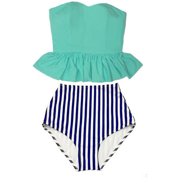 Mint Strapless Long Top and White Navy Blue Stripes Retro Vintage High... (600 ARS) ❤ liked on Polyvore featuring swimwear, bikinis, silver, women's clothing, retro high waisted bikini, swimsuits bikinis, vintage bathing suits, strapless bikini and vintage high waisted swimsuit