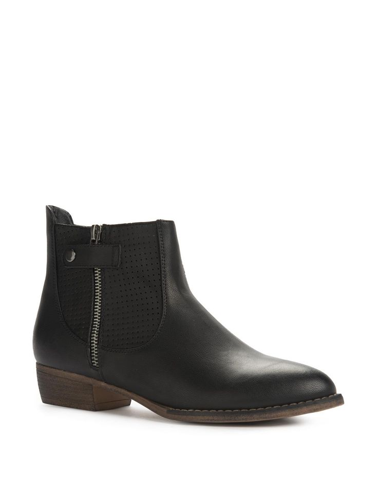 Perforated Zip Ankle Boots