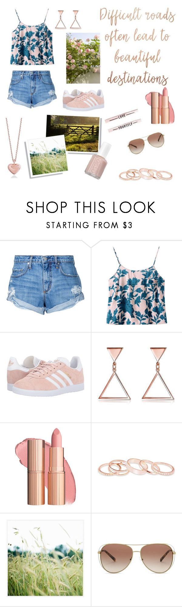 """""""Destination Unknown"""" by amartin10 ❤ liked on Polyvore featuring Nobody Denim, adidas Originals, Kendra Scott, Pottery Barn, Michael Kors and Essie"""