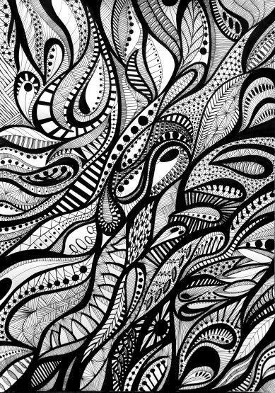 FREE FORMS B&W II, Original Ink Illustration Signed prints and original artwork available on my etsy store www.etsy.com/pt/shop/ArtbyAnaSilva