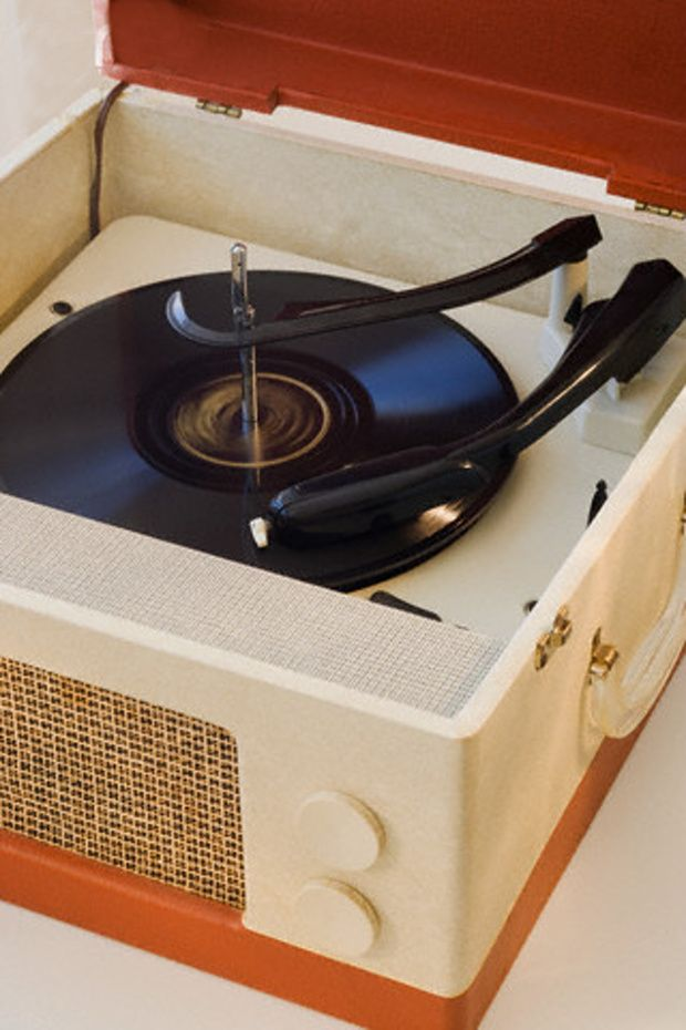 Close up of old fashioned record player -