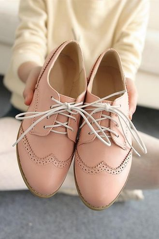 Cute Lace Up Pink Oxford Shoes