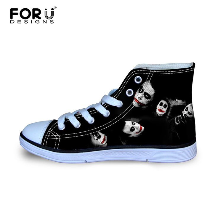 FORUDESIGNS Classic High Top Canvas Shoes For Women Funny Harley Quinn Joker Printed Shoes Female Casual Lace-up Vulcanize Shoes