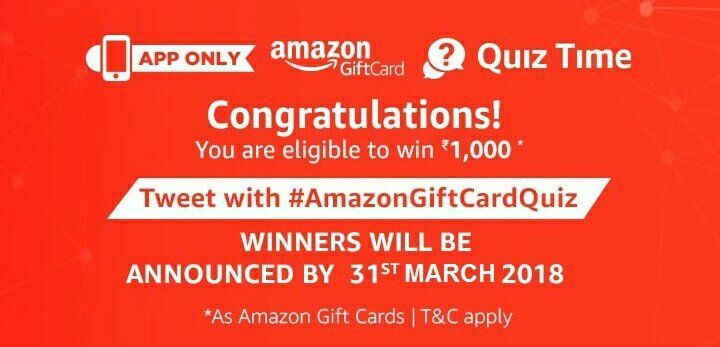 Amazon Gift Card Quiz Replies Participate And Win 1 000 Rupees