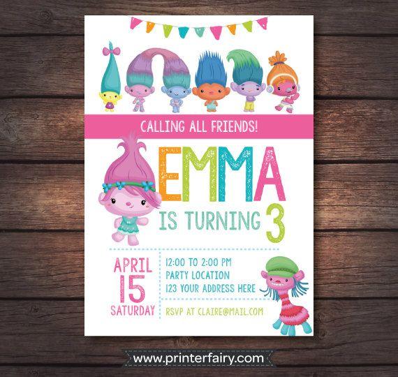 Trolls Birthday Party, Trolls Birthday Invitation, Trolls Invites, Trolls Printables, Trolls Invitation, Trolls Movie