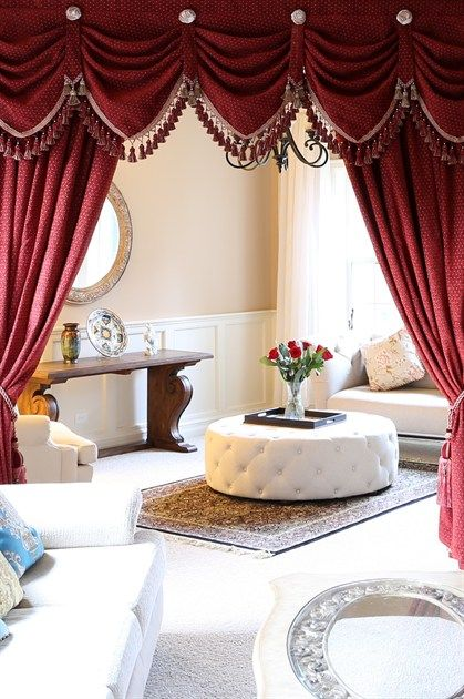 Austrian Diamond Swags And Valances Curtains Red