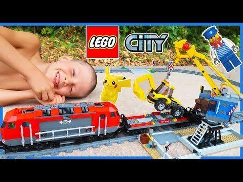 Lego City Train Set with Backhoe and Crane | Heavy Haul Time Lapse