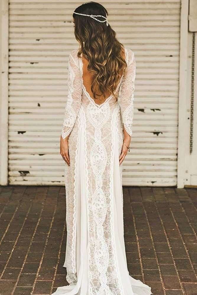 Top Boho Wedding Dress Ideas For You Boho Wedding Dress With Open Back Boh Long Sleeve Wedding Dress Lace Beach Wedding Dresses Backless Wedding Dresses Lace