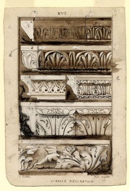 John Ruskin: study. Stones of Venice - Cornice Decoration