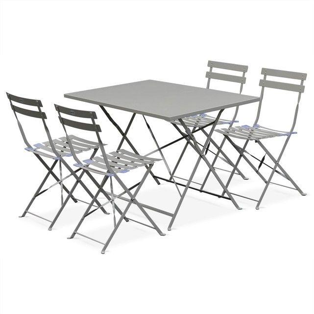 Salon de jardin bistrot pliable Emilia rectangulaire gris taupe, table 110x70cm ALICE S GARDEN