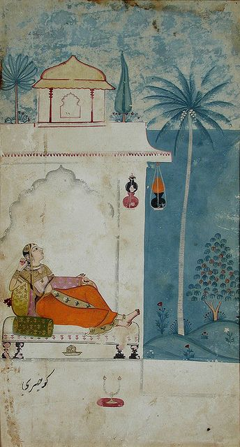1680 Gurjari Ragini of Megh, Ragamala. indian miniature