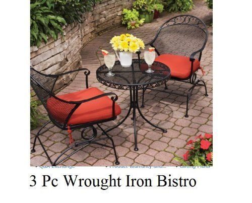 Outdoor Wrought Iron Bistro Set W / FREE Cushions By Wrought Iron, Http:/