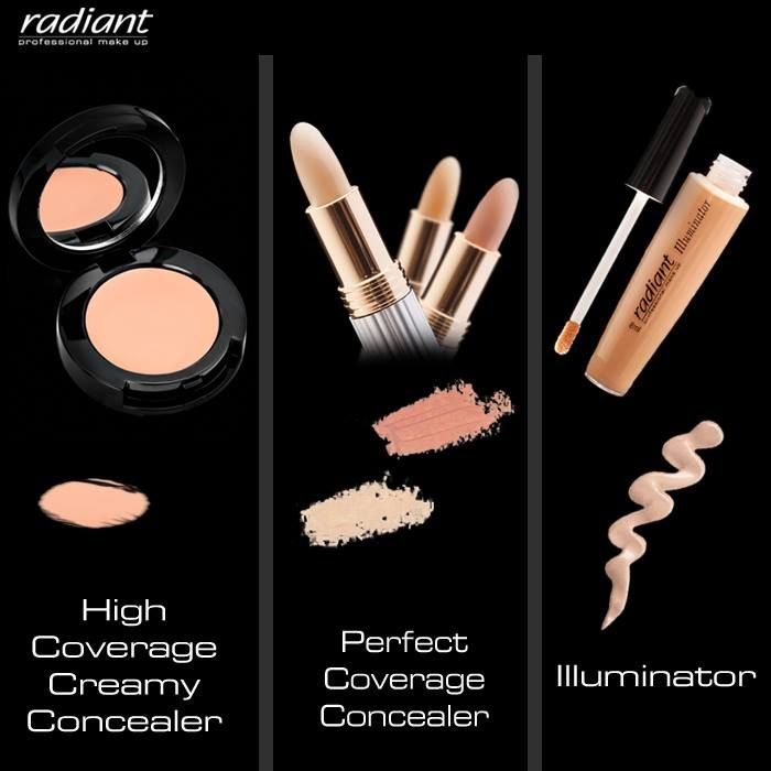 Say goodbye to under #eye #dark #circles & tired-looking eyes! Pick the ideal #concealer for you in #stick, #creamy or #liquid texture! #Radiant #Professional #Makeup