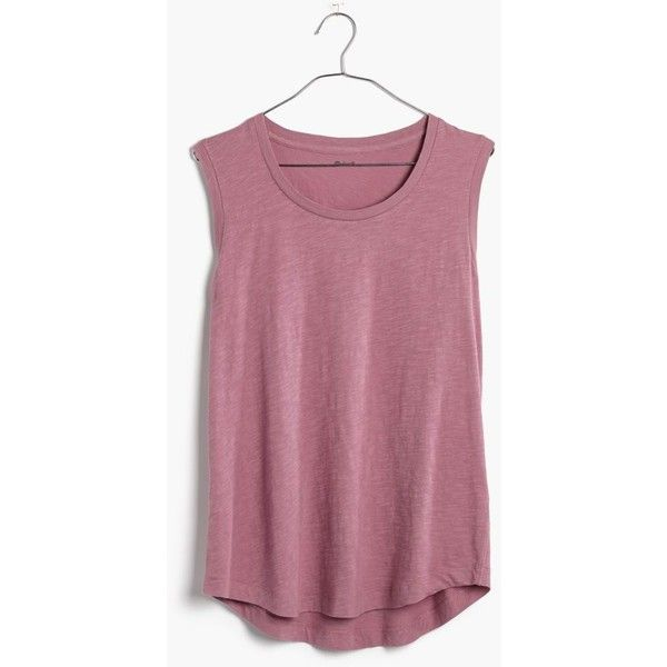 MADEWELL Whisper Cotton Crewneck Muscle Tank (€18) ❤ liked on Polyvore featuring tops, smoky lilac, cotton muscle tank, crew neck tank top, sleeveless tshirt, muscle t shirts and draped tank top