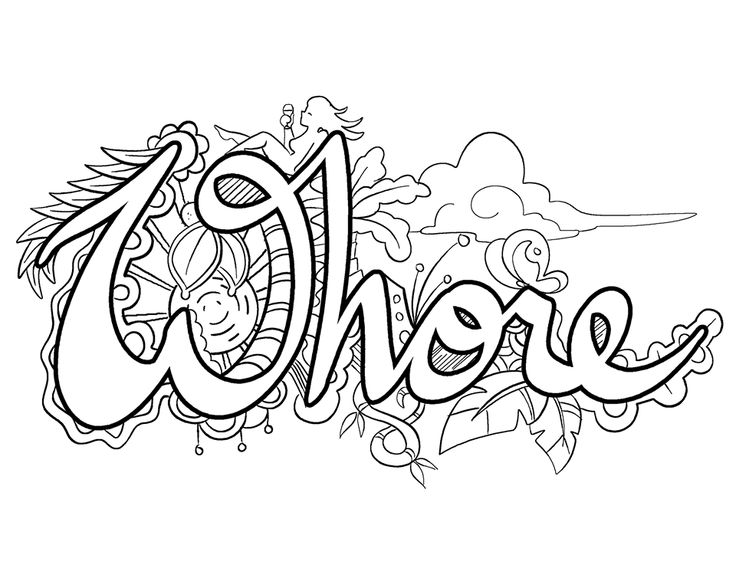 Swear words for Coloring pages of pussy